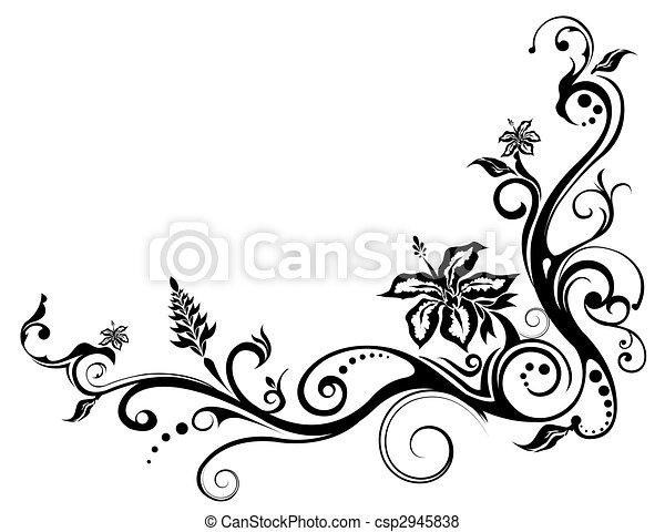 Patrón de flores y viñas - csp2945838
