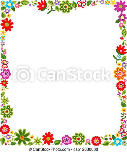 patrón floral, marco, frontera - csp12838088