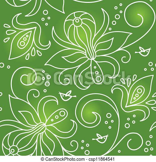 patrón floral, seamless, aves - csp11864541