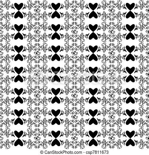 Floral sin costura y patrón cardíaco - csp7811673