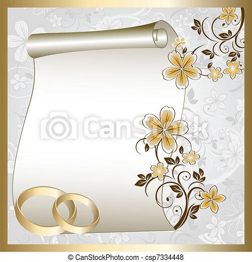 patrón, floral, tarjeta, boda - csp7334448
