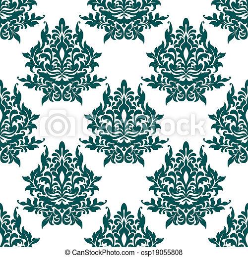 Patrón floral verde sin costura - csp19055808
