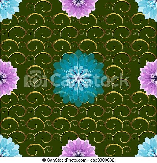 Patrón floral verde - csp3300632