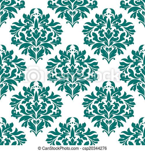 Patrón floral verde sin costura - csp20344276
