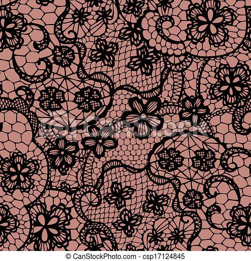 Patrón sin encaje con flores - csp17124845