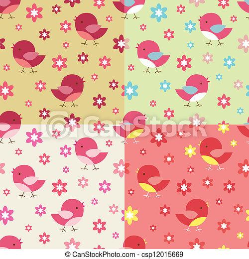 patrón, flores, seamless, aves - csp12015669