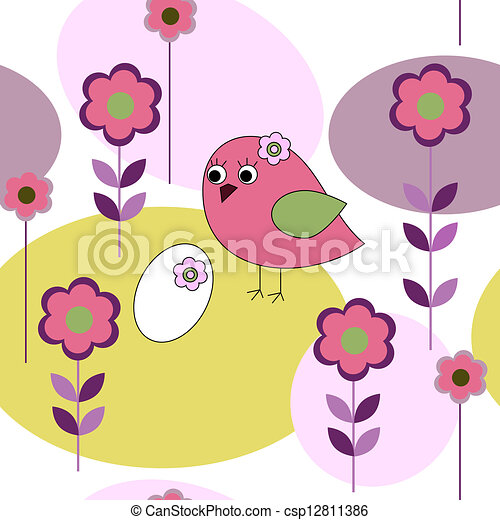 patrón, flores, seamless, aves - csp12811386