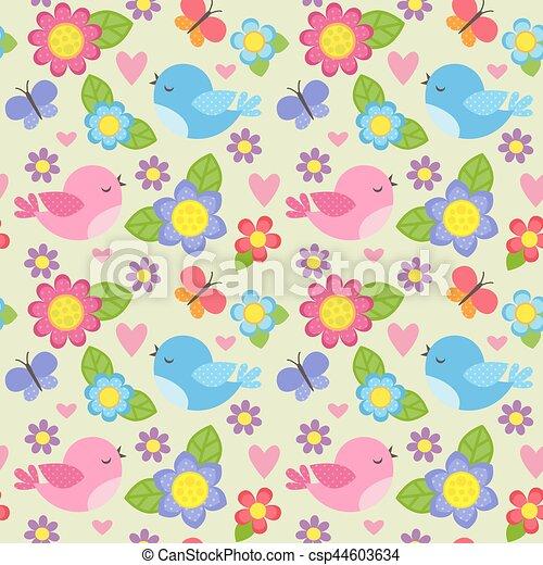patrón, flores, seamless, aves - csp44603634