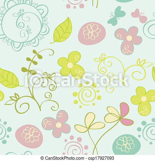 patrón, flores, seamless - csp17927093