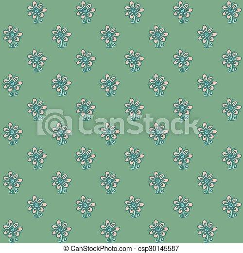 Patrón sin costura con flores en el fondo verde - csp30145587