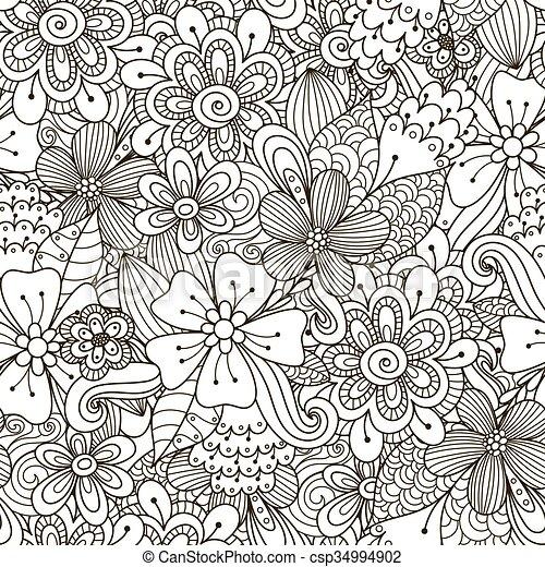 Patrón de fideos en blanco y negro - csp34994902