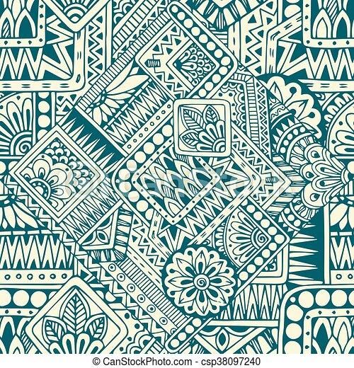 Patrón de fideo retro-doodle brasileño inmaculado en vector. Antecedentes con elementos geométricos. - csp38097240