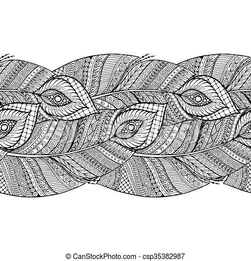 Patrón étnico blanco y negro con plumas. - csp35382987