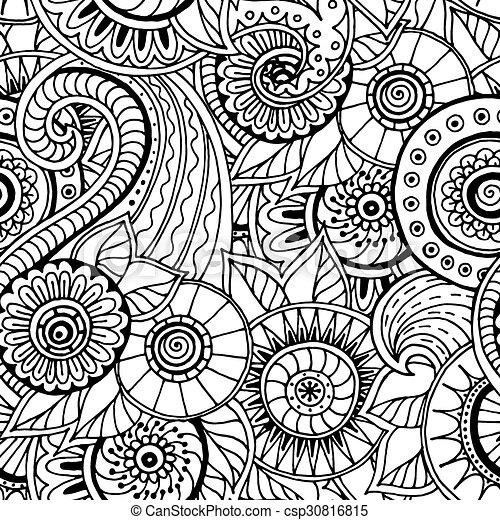 Fideos florales sin costura en blanco y negro en vector. - csp30816815