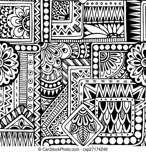 Patrón de fondo floral sin costuras en vector. - csp27174249