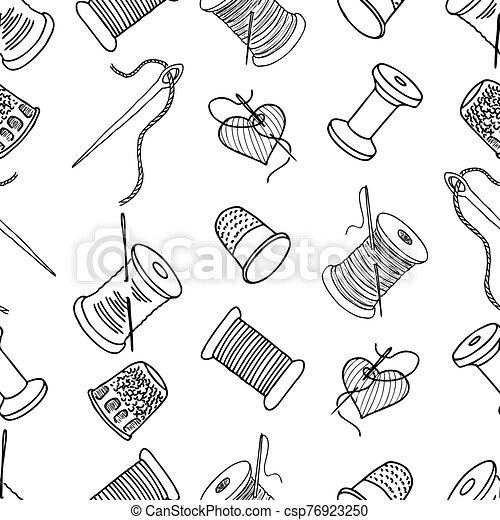 patrón, hilo, contornos, seamless, agujas, carretes, costura, dedales - csp76923250