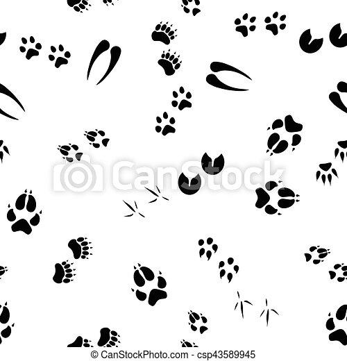 Patrón sin marcas con huellas de animales - csp43589945
