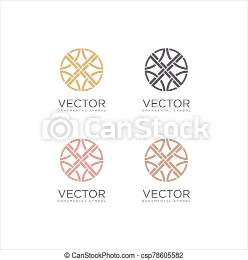 patrón, logotipo, ornamento, vector, diseño determinado, icono, geométrico - csp78605582