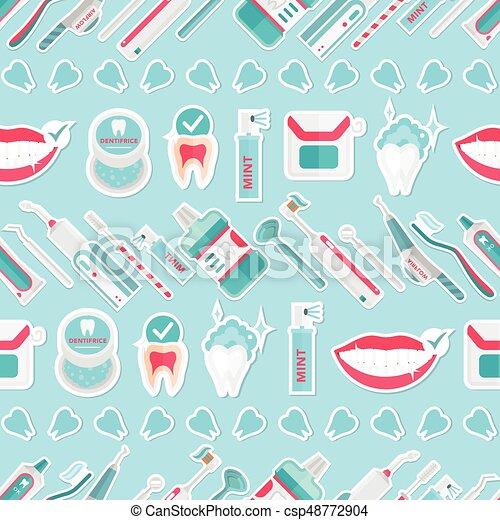 Vector de patrones de higiene de dientes médicos - csp48772904