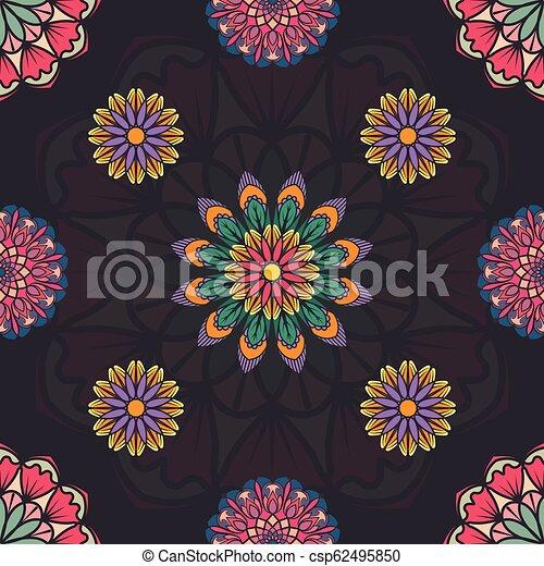 Patrón sin costura con múltiples mandalas coloridas - csp62495850