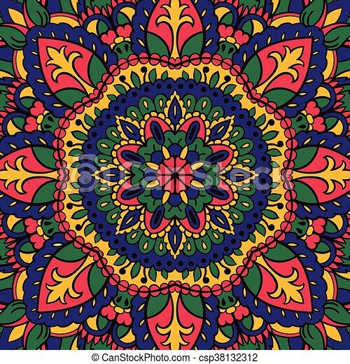 Patrón mandalas colorido Alfombra textil plato