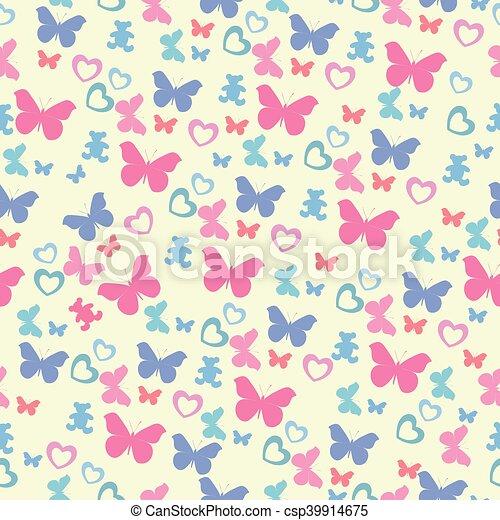 Patrón sin forma con mariposas - csp39914675