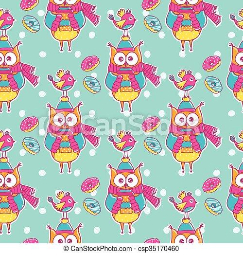patrón, pájaro, seamless, búhos - csp35170460