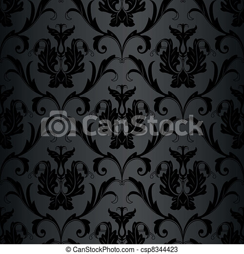 Patrón de papel pintado negro sin costura - csp8344423