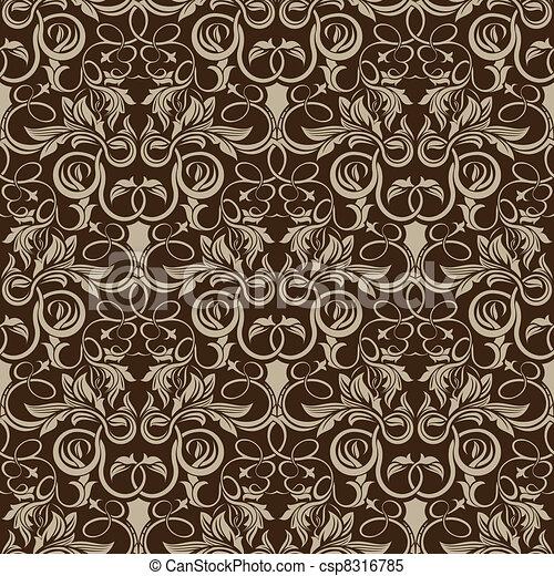 Patrón de papel pintado marrón - csp8316785