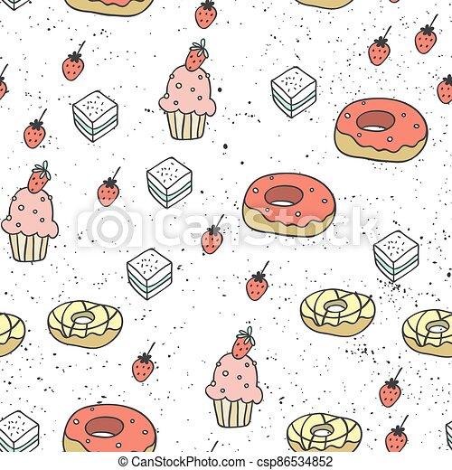 patrón, pintado, sweets., elements., dibujado, seamless, hermoso, mano, moderno, plano de fondo, su, resumen, textura, design., caótico, multicolor - csp86534852