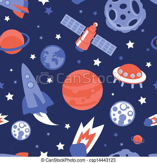 Patrón sin barreras con planetas y estrellas - csp14443123