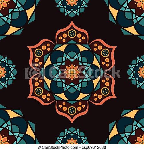 Patrón sin cortes con mandalas coloridas - csp69612838