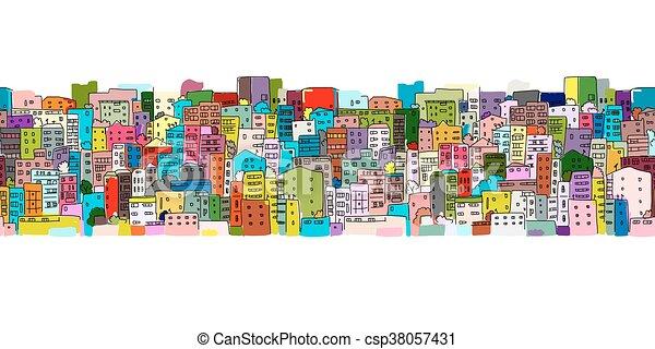 Trasfondo de paisaje urbano abstracto, patrón sin costura para su diseño - csp38057431
