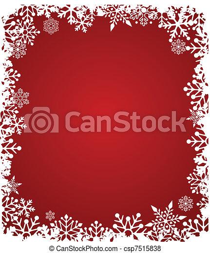 Trasfondo rojo de Navidad con un patrón de copos de nieve - csp7515838