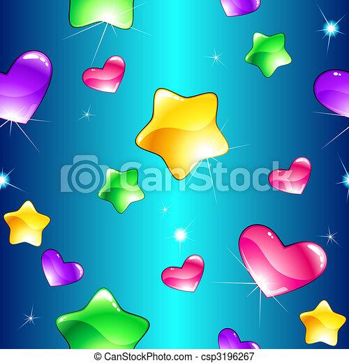 Patrón Seamless Alegre Estrellas Corazones Brillante