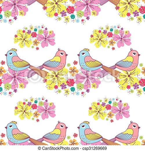 patrón, seamless, aves - csp31269669
