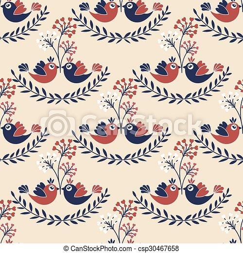 patrón, seamless, aves - csp30467658