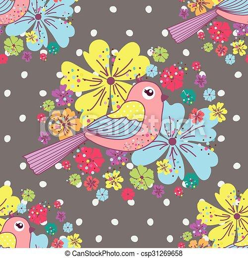patrón, seamless, aves - csp31269658