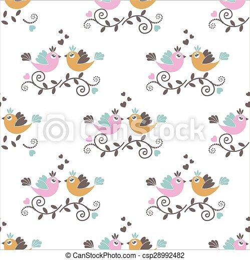 patrón, seamless, aves - csp28992482