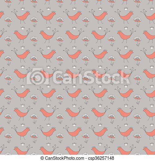 patrón, seamless, aves - csp36257148