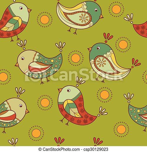 patrón, seamless, aves - csp30129023