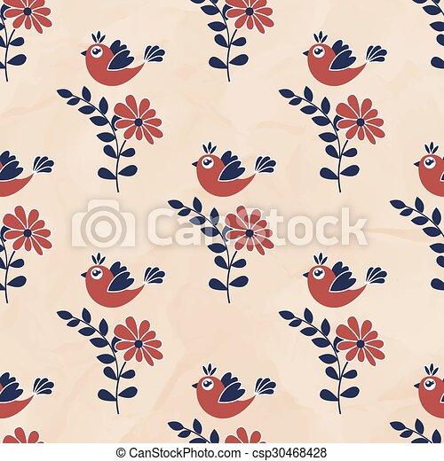 patrón, seamless, aves - csp30468428