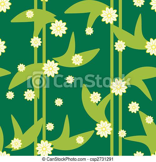 patrón, seamless, diseño, floral, verde, flores - csp2731291