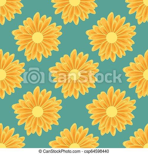 Patrón sin costuras con flores de margarita naranja en el fondo verde - csp64598440