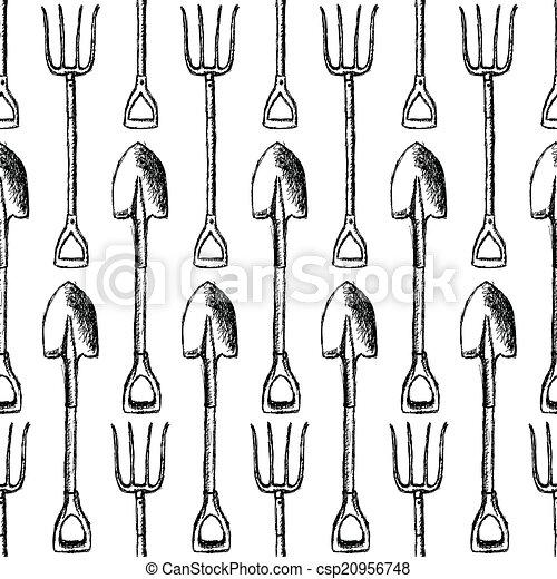 Pala de jardín y tenedor, vector patrón sin costura - csp20956748