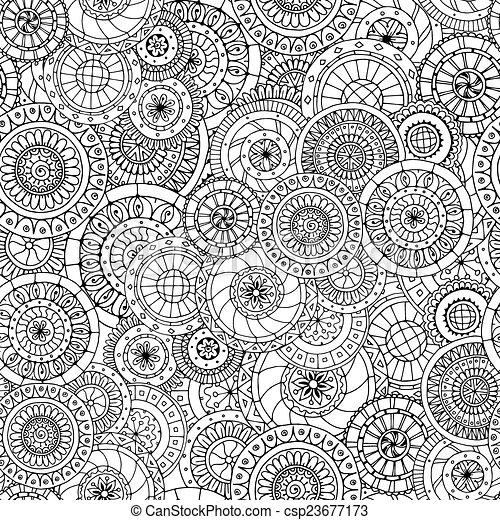 Patrón floral sin costura con garabatos y pepinos versión en blanco y negro. - csp23677173
