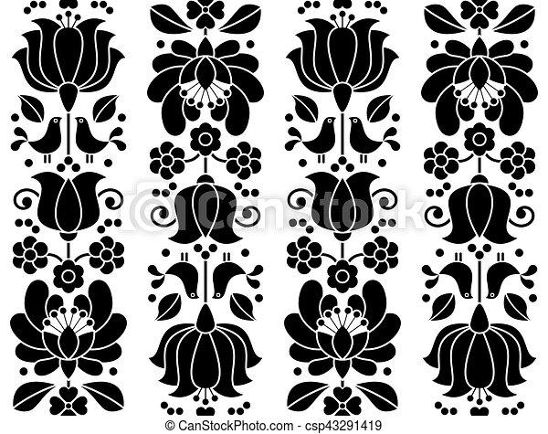 Patrón floral sin costura, bordado de Kalocsai, diseño tradicional popular de Hungría - csp43291419