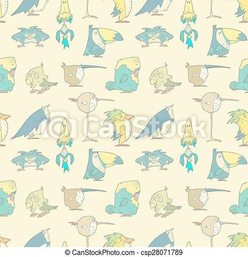 patrón, seamless, vector, diseño, plano de fondo, álbum de recortes, aves - csp28071789