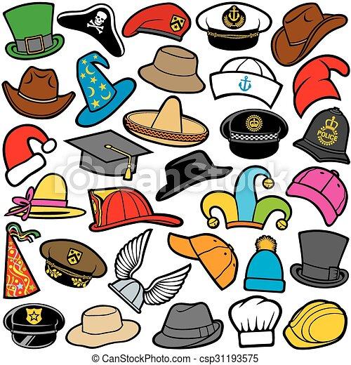 Patrón sin costura con diferentes sombreros - csp31193575