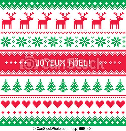 Joyeux noel, patrón de Navidad - csp16691404